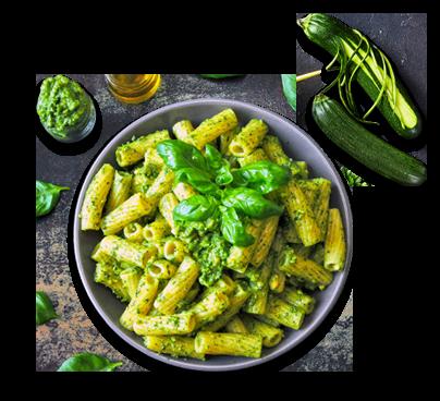 pasta al pesto di basilico e zucchine