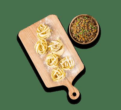 tagliatelle ragù di lenticchie