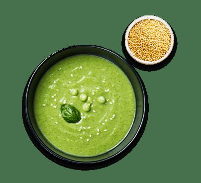 zuppa di piselli con miglio